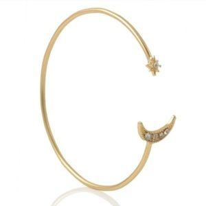 Jewelry - Gold Moon & Star Rhinestone Bangle NWOT